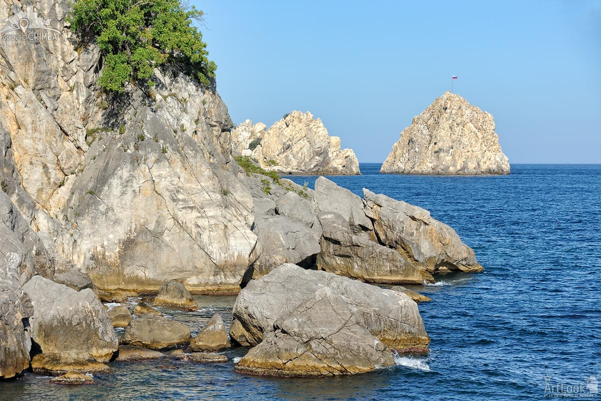 Cliffs and Adalary Twin Rocks in the Chekhov Bay