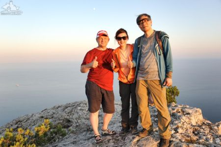 On the Peak of Sokol Mountain at Sunset