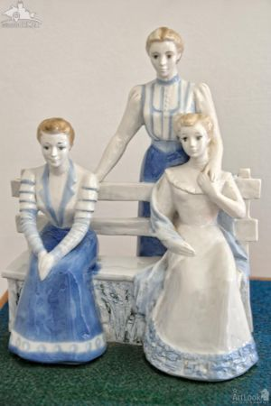 "Porcelain Statuette ""Three Sisters"" in house-museum ""Dacha Chekhova"""