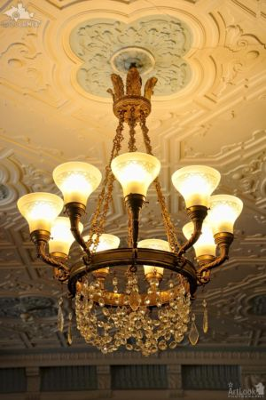 Chandelier and Ceiling Décor in Billiard Room, Massandra Palace