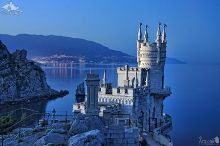 Fairytale Swallow's Nest Castle and Yalta Bay in Twilight