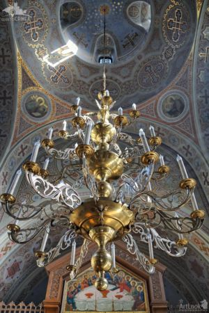 Under Beautiful Chandelier and Dome of Foros Church
