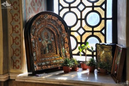 Old Icons and Flowers on the Window Sill - Interior of Foros Church
