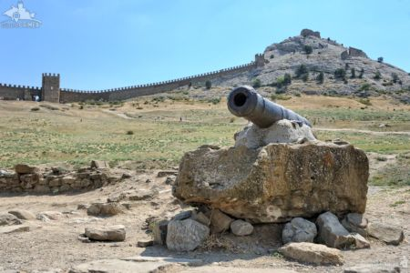 19th-century Russian Naval Cannon on Stone
