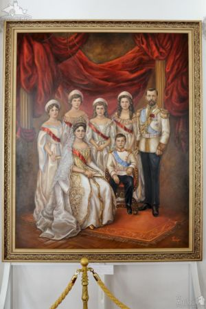 Royal Portrait of Romanov Family in the White Hall of Livadia Palace