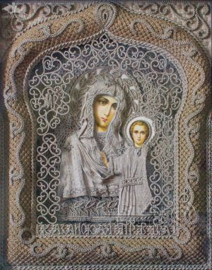 Linen Thread Icon of Our Lady of Kazan in Church-Lighthouse in Malorechenskoye